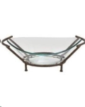 Where to rent Glass Bowl - Oval on Hammered Stand in Iowa City IA