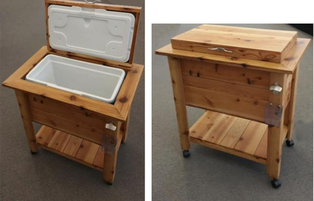 Where to find Wooden Ice Chest on Cart in Iowa City