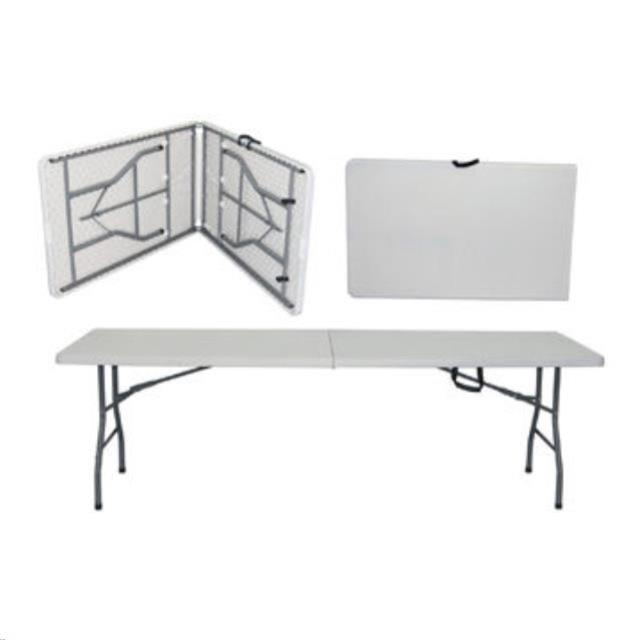 Where to find 8ft Banq Table Plastic Fold in Half in Iowa City